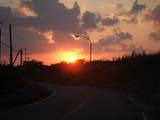石・平久保台に行く途中の朝日