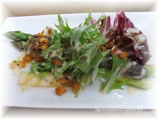 炙り秋刀魚と茹でアスパラガスのラビゴットソース⑥-1