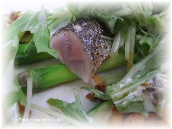 炙り秋刀魚と茹でアスパラガスのラビゴットソース⑦-1