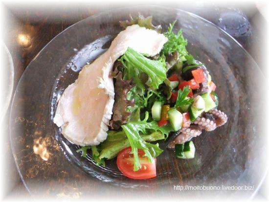 前菜(自家製ハムとサラダ&イイダコの夏野菜サラダ)①-1