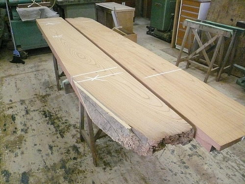 Y邸ケヤキのテーブル 木取り1
