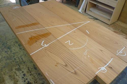 Y邸ケヤキのテーブル 木取り2