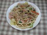 野菜とうどんのカレー炒め