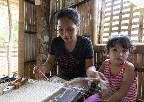 マクラメ編みお親子