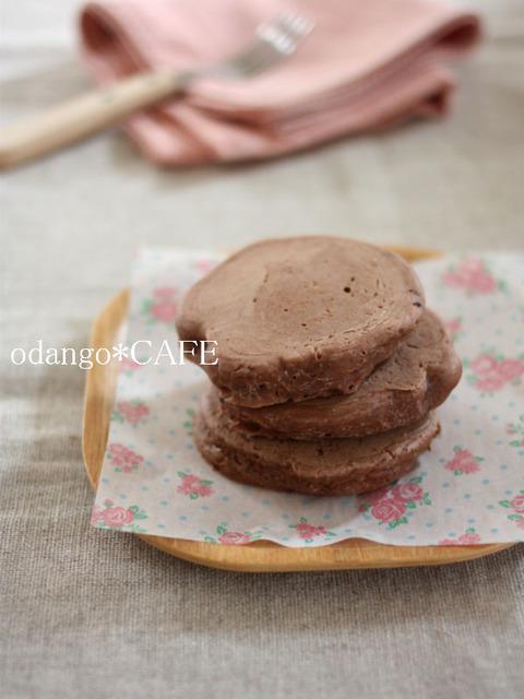 もっちり厚め♪米粉のココアパンケーキ1_600