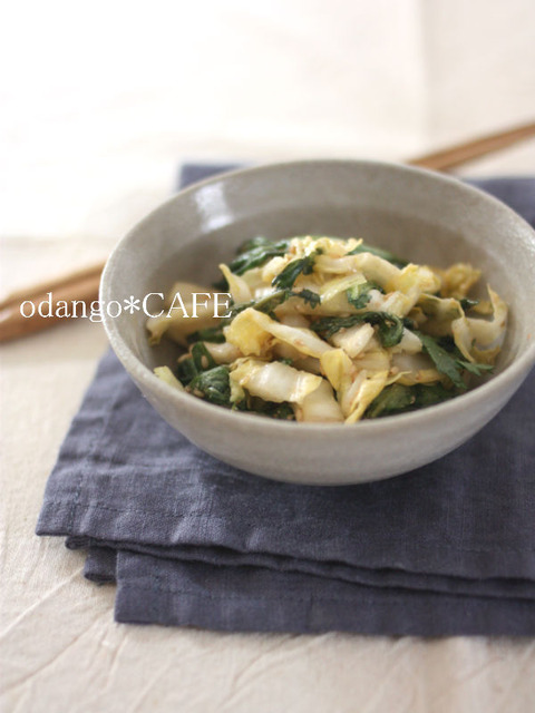 白菜と春菊のごまサラダ3_600