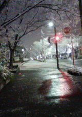 雪夜の歩道
