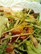 京水菜と炙りベーコンのサラダ