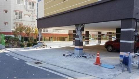 15日の韓国の地震によりマンションが倒壊の危機に 韓国では2015年に耐震設計が義務付けられる