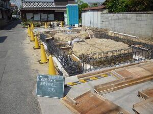 鉄骨造2階建てガレージ基礎配筋