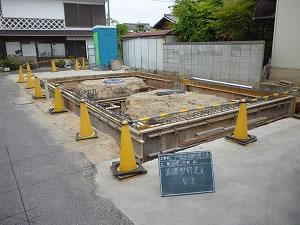 鉄骨造2階建てガレージ型枠組