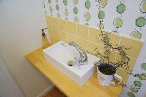 かわいい造作手洗い。