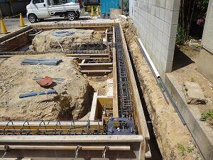 鉄骨造2階建てガレージアンカーボルト