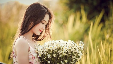 花束女の子