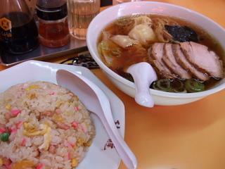 叉焼わんたん麺+炒飯