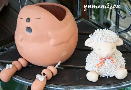 ほのぼの〜としたプランターと羊