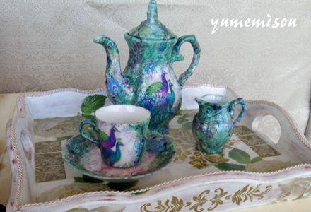 ナプキンデコパージュの茶器