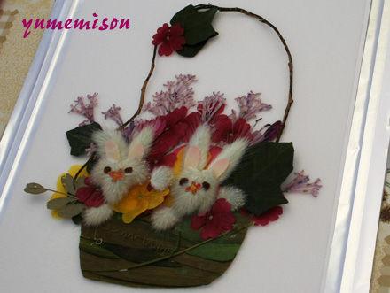 押し花のウサギ