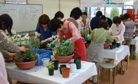 寄せ植え教室が人気です。