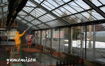天井ガラスの掃除