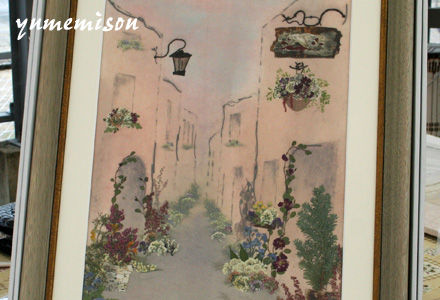 ヨーロッパの街並みの押し花