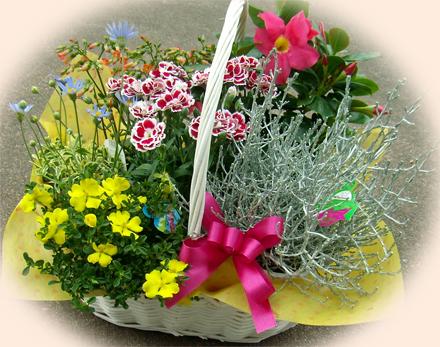 白いバスケットの花かごセット