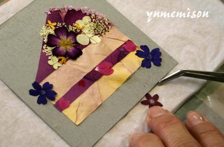押し花のショートケーキ
