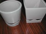 丸と四角の白鉢