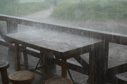 土砂降りの雨が降りました。