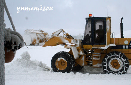 この冬一番の積雪に除雪車出動