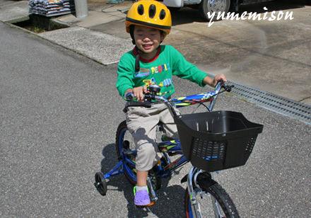 優太くんは、自転車の練習中
