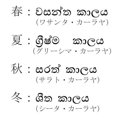 シンハラ語四季
