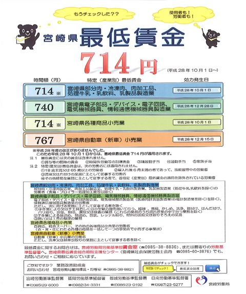 宮崎県最低賃金