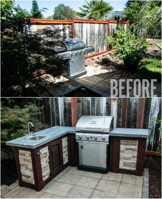 Nhà bếp ngoài trời bằng gỗ và gạch đã được tái chế