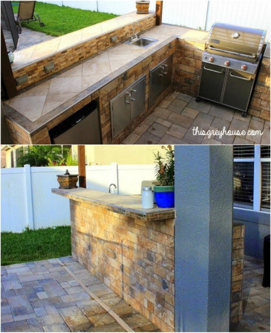 Bếp ngoài trời DIY Tiled