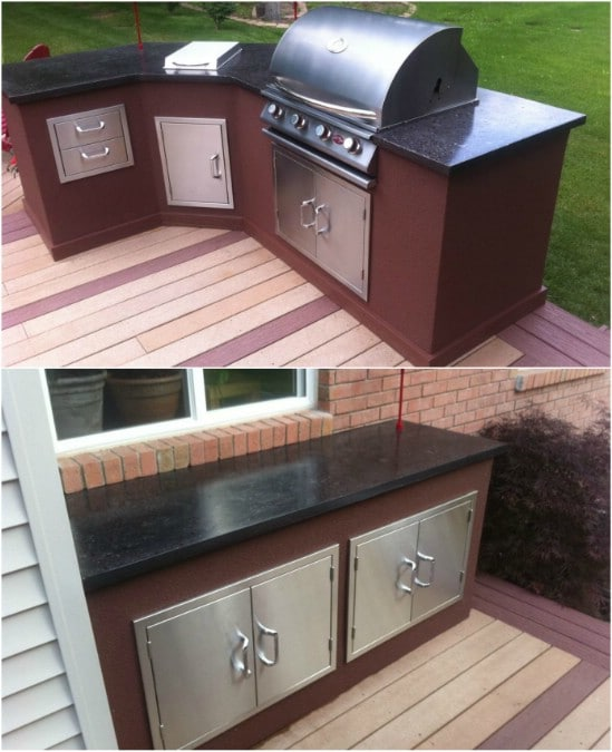 Bếp ngoài trời DIY có mặt bàn bê tông