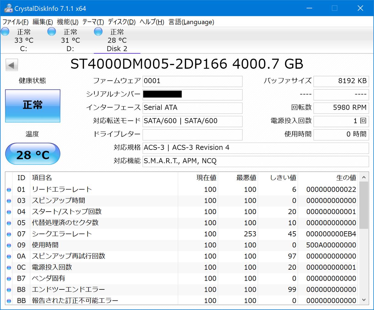 ST4000DM005 CrystalDiskInfo