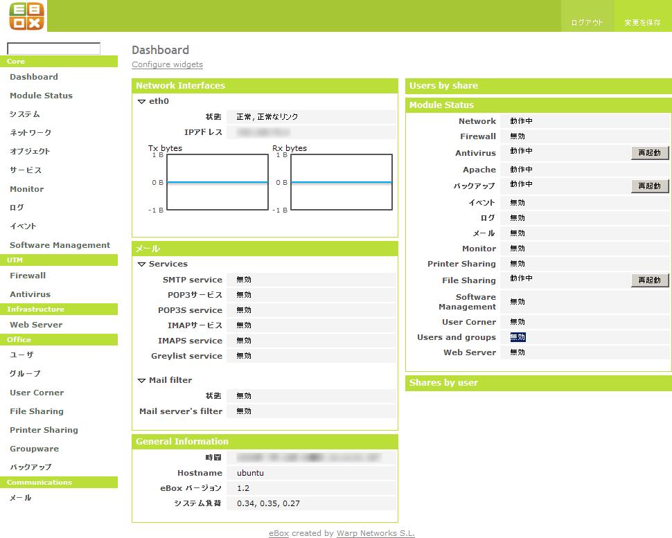 ebox 1.2 Dashboard