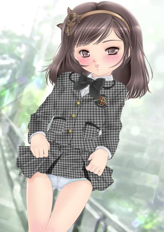 制服を着た娘がスカートをたくしあげてる画像10