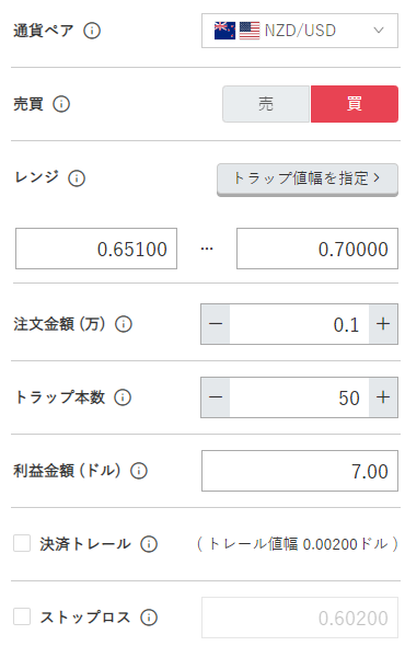鈴のトラリピ設定-NZドル/米ドル買い0.65ドル-0.70ドル