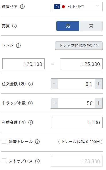 鈴のトラリピ設定-ユーロ/円売り120円-125円
