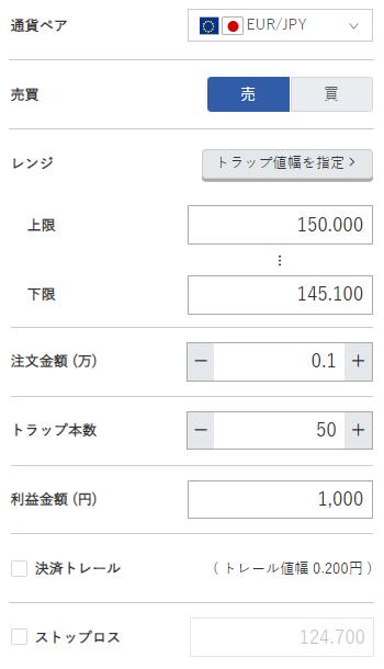 ユーロ円売り145円~150円