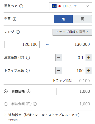 鈴のトラリピ設定-ユーロ/円売り120円-130円
