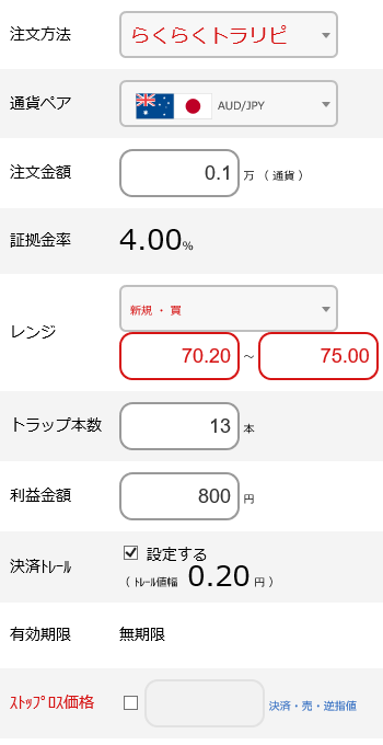 豪ドル円買い70~75