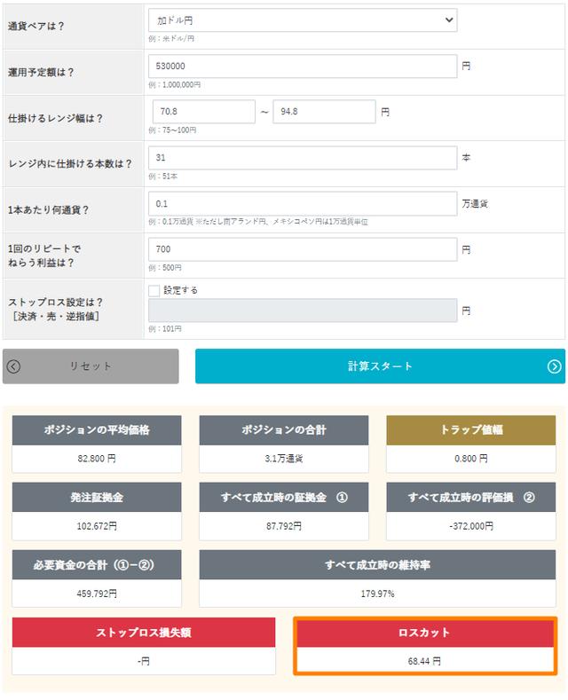 トラリピ運用試算表_70円以下まで耐える