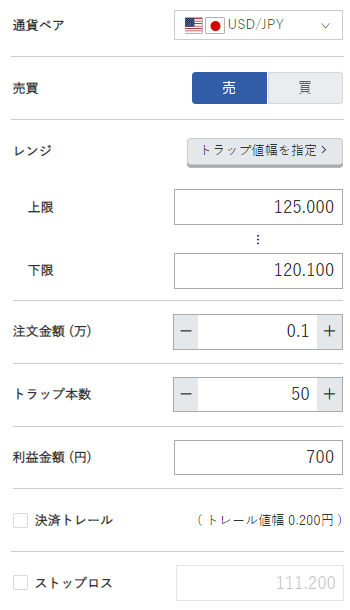 米ドル円売り120円~125円