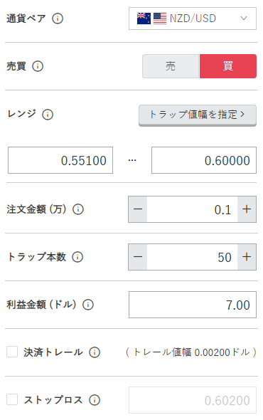 鈴のトラリピ設定-NZドル/米ドル買い0.55ドル-0.60ドル