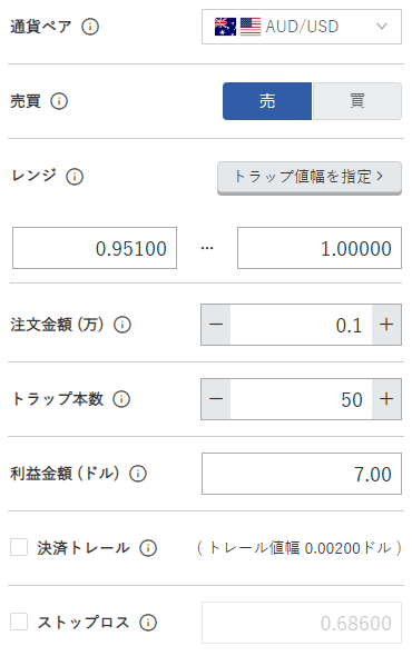 鈴のトラリピ設定-豪ドル/米ドル売り0.95ドル-1.00ドル