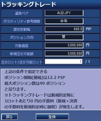 トラッキングトレード300万円設定