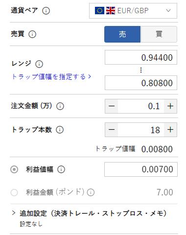 ユーロ/英ポンドのトラリピ設定-売り